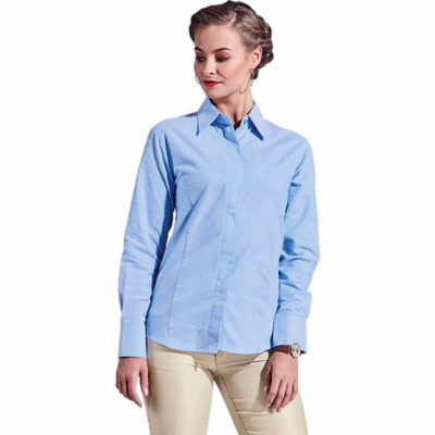 The Ladies Oxford Blouse Long Sleeve is made from cotton rich two-tone fabric with a concealed button stand, shaped side panels with a curved hem.