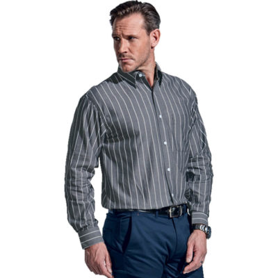 The President Stripe Lounge Long Sleeve is made from 100% cotton fabric with a yarn-dyed stripe design. Available in the colour charcoal-white with a double button cuffs, a constructed button stand and a front patch pocket