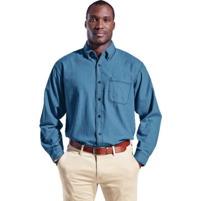 The Mens Denim Shirt Long Sleeve is a mid-blue 100% cotton denim fabric long sleeve dress shirt. With a constructed button stand and button down collar, front patch pockets, constructed button stand, double button mitered cuffs and a double layer drop shoulder yoke