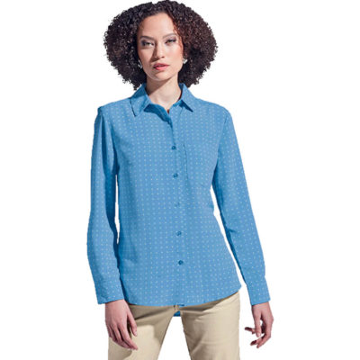 The Ladies Donna Blouse Long Sleeve has a constructed collar, a chest pocket and adjustable cuffs with slits on the sleeves. Made from polyester with a high-low hem, side slits and tonal buttons.