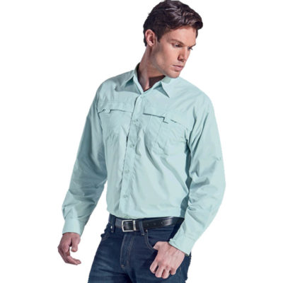 The Mens Trail Shirt Is a mountain blue 100% lightweight nylon, breathable and water resistant easy care garment, With roll up sleeve styling, chest pockets, mesh inner back yoke, double button cuffs and double needle finishing for extra strength and durability