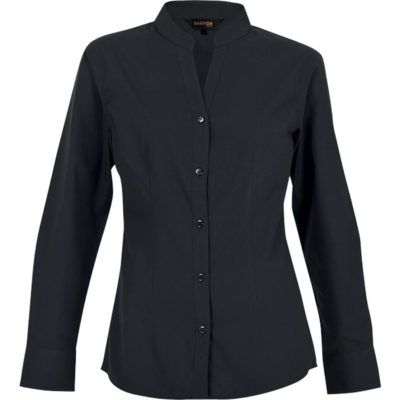 The Ladies Barista Blouse Long Sleeve shirt has a curved hem, double button cuffs with top-stitched armholes and shoulder seams. Made from lightweight poly cotton fabric with a bust, front and back darts for a more fitted look. Available in the colour black