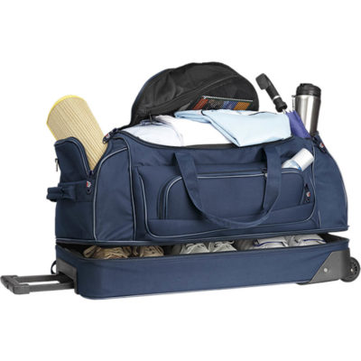 The Double Decker Trolley Bag is made from 600D nylon with trolley wheels, an extendable handle, a bottom shoe zip compartment, side zip pockets, a small front zip pocket and a inner mesh pockets.