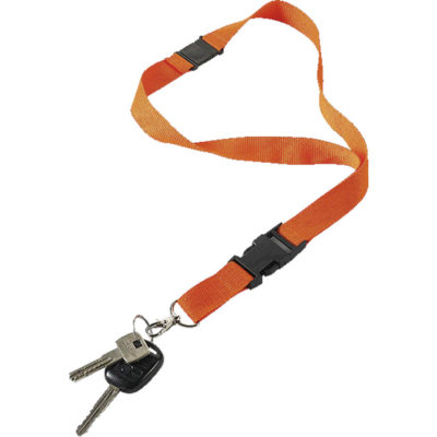 The Lanyard with Safety Release Clip is made from polyester with a black plastic safety release clip and a metal lobster claw clasp.