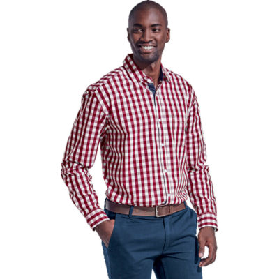 The Cedar Lounge Long Sleeve Is A Wine Red 100% Cotton Check Pattern Shirt. With A Chest Patch Pocket And Contrast Oxford Trim On The Inner Cuff, Button Stand And Collar Stand