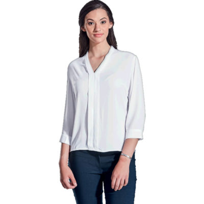 The Ladies Tulip Blouse Is A White 100% Polyester Flowy Blouse. With A Double Layer Front And Collar, Shaped Hem, Bust Dart And 3/4 Sleeves With Bound Gauntlet And Button Closure