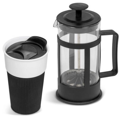 The Robusta Coffee Set has a black plunger with PP lid, a 360ml tumbler with a thumb slide closure.