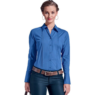The Ladies Vogue Blouse Long Sleeve Shirt Is An Easy Care Garment With Executive Fashion And Style. It Has Bust And Back Darts.