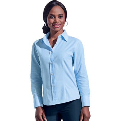 The Ladies Chambray Blouse Long Sleeve made from 100% Cotton chambray has a classy ladies fit, and comes in multiple sizes.