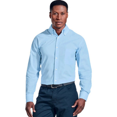 Mens Chambray Lounge Long Sleeve Is Made From 100% Cotton Chambray. The Features Include A Back Box Pleat And Front Patch Pocket.