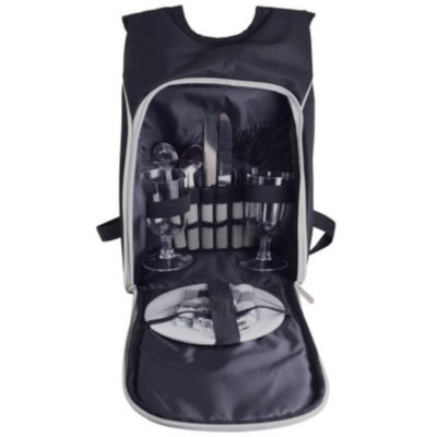 The Cheese and Wine Picnic Backpack Is Made Out Of 600D Polyester And Is Black-Yellow. It Includes 2 Piece Set Of Knives, Forks, Spoons And More.