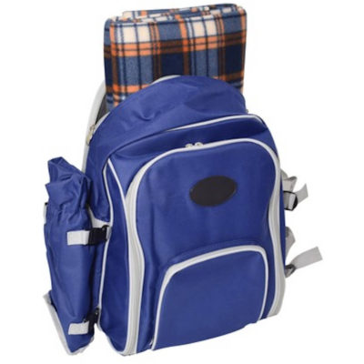 The Picnic Backpack and Blanket Is Made Out Of 600D And It Is Blue. It Has Four Place Settings With Plates, Cutlery, Glasses, Napkins And A Cheese Board.