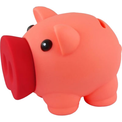 The Rubber Piggy Bank is made from rubber with a coin slot on the back. Available in pink with a bright pink big nose.