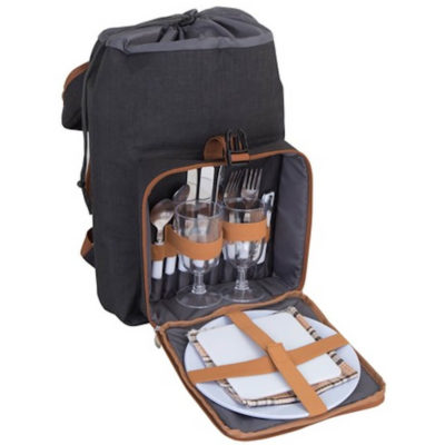 The Noble Picnic Back Pack features a 2 place settings with plates, cutlery, glasses, napkins, cheese board, waiters friend and cooler bag compartment.