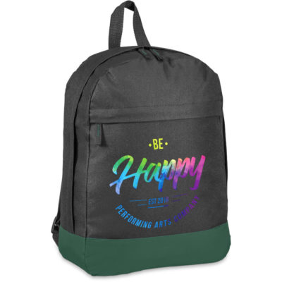 The Baseline Backpack is a black 600D fabric backpack with contrasting dark green bottom panel, top carry handle, main ziipered compartment, front zippered compartment, adjustable shoulder straps and zip pullers with colour accented stitching