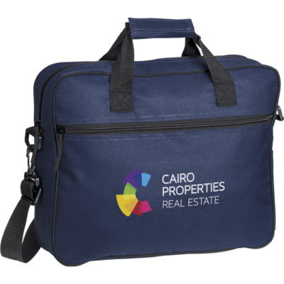 """The Navy Gateway Compu-Brief Is Made From 600D. The Features Include A Main Zippered Compartment That Holds 15.6"""" Laptop, Front Zippered Compartment, Double Carry Handles With Comfortable Handle Wrap And An Adjustable Removable Shoulder Strap."""