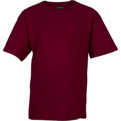 The Maroon 145g Kiddies Crew Neck T-shirt Is Made From 100% Carded Cotton Single Jersey Knitted Fabric. The Features Include Dyed With Reactive Dyes.