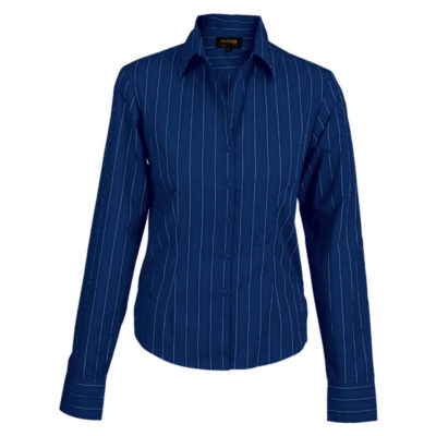 The Royal Blue/White Ladies Civic Blouse Long Sleeve Is Made From Poly Cotton Blend. The Features Include Vertical Stripe Pattern, Raised Collar, Constructed Button Stand, Curved Hemline, Front And Back Darts With Turn Up Cuffs.