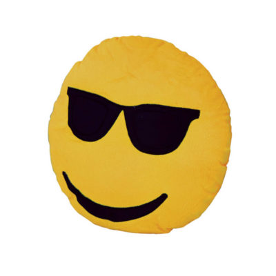 The Glasses Emoji Cushion Is Super Cool, Super Comfortable And Super Rad. It Is Made Out Of Polyester And It Is Yellow. It Even Has Cool Sunglasses.