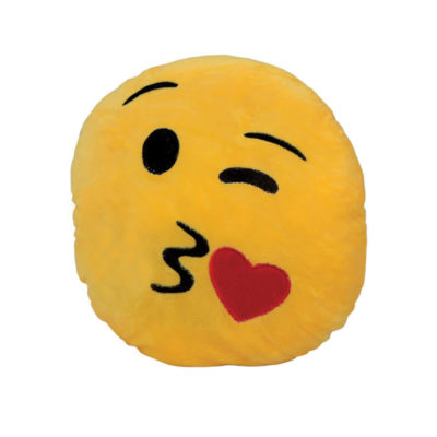 The Heart Emoji Cushion Is A Comfortable Pillow Made Out Of Polyester. It Is Yellow And Soft. It Is The Perfect Gift For Your Loved One.