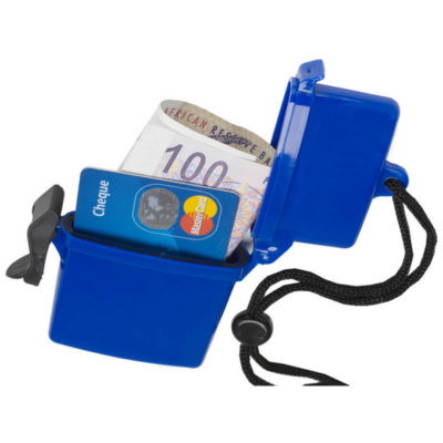 The Beach Box Is Waterproof And Holds Cash And Credit Cards. It Is Made Out Of Plastic And Is Blue. Great Way To Showcase Your Logo.
