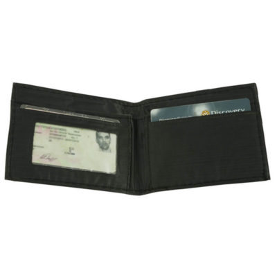 The Mens PVC Wallet Is Made Out Of PVC And It Is Black. It Includes 2 Main Compartments, An ID Holder, Card Holder And Zip Coin Compartment.