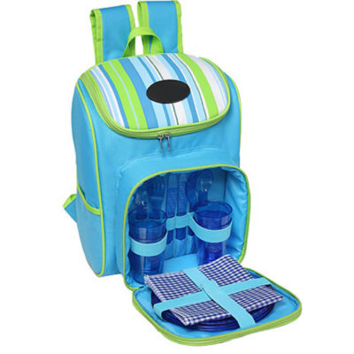 The Striped Picnic Backpack [4-Person] Is Made Out Of 600D And Is Blue-Green. It Features Four Place Settings With Plates, Cutlery And More.