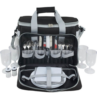 The Summit Picnic Shoulder Bag [4-Person] Is Made Out Of 600D Polyester And Is Black-Grey. It Has Plates, Cutlery, Glasses, Napins And More.