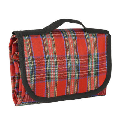 The Folding Picnic Blanket Has A Waterproof Ground Mat And Velcro Closing Carrying Handle. It Is Made Out Of Polyester And Is Checkered Red.