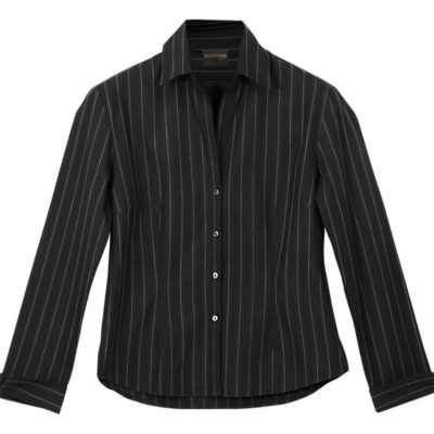 The Black/White Ladies Civic Blouse Long Sleeve Is Made From Poly Cotton Blend. The Features Include Vertical Stripe Pattern, Raised Collar, Constructed Button Stand, Curved Hemline, Front And Back Darts With Turn Up Cuffs.
