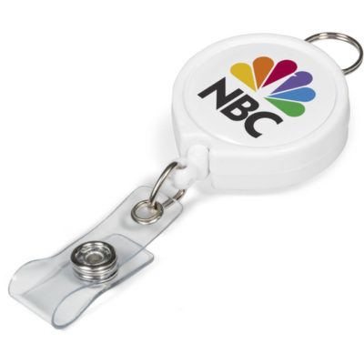The Klasp Badge Reel Is A White Plastic Keyring With A Belt Clip On The Back For Positioning And A Key Ring Holder.