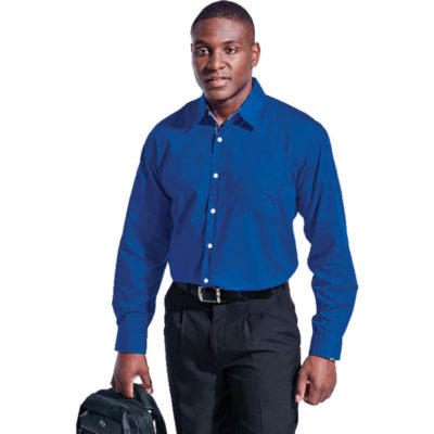 The Mens Harper Lounge Long Sleeve Is A Royal Blue 80/20 Poly Cotton Long Sleeve Dress Shirt. Features Include Dropped Shoulder, Chest Pocket, Dropped Shoulder, Shaped Hem, Single button Through Gauntlet, Double Layer Back Yoke, Double Needle Stitching On The Underarm And Side Seam And A Contrasting Inner Collar Stand