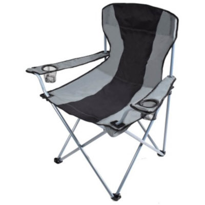 The Grand Camping Chair Is Made Out Of 600D And It Is Black-Grey. It Features 19mm Poles With 2 Mesh Drink Holders, It Holds A Weight Of 120KG.