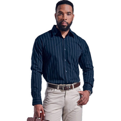 The Mens Civic Lounge Long Sleeve is a navy 65/35 poly cotton blend long sleeve dress shirt. With a vertical slim black and white stripe pattern, constructed button stand, raised collar, double button mitred cuffs with a button through gauntlet, double layer drop-shoulder yoke and a back box pleat