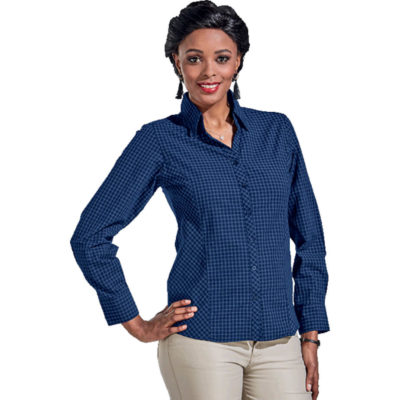 The Royal Blue Ladies Pioneer Check Blouse Long Sleeve Is Made From 100% Cotton With A Yarn Dyed Pattern. Features Include A Slimline Button Stand, Shaped Side Panels And Side Slits.
