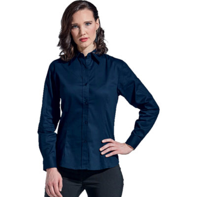 The Ladies Brushed Cotton Twill Blouse Long Sleeve in red has a curved hemline, double button cuffs, a constructed button stand, front and back darts for a flattering fit.