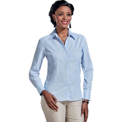 The Ladies Century Blouse Long Sleeve Is Sky Blue Poly Cotton Blend Blouse With A Fine White Yarn-Dyed Stripe Design. Features Include Two Piece Collar, Front Back And Bust Darts, Twin Grouping Of Buttons And A Curved Hem.