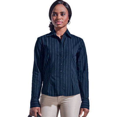 The Navy/White Ladies Civic Blouse Long Sleeve Is Made From Poly Cotton Blend. The Features Include Vertical Stripe Pattern, Raised Collar, Constructed Button Stand, Curved Hemline, Front And Back Darts With Turn Up Cuffs.