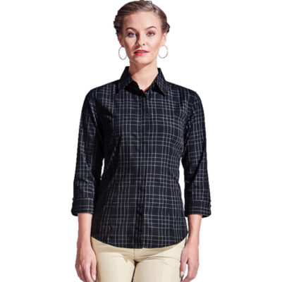 The Ladies Hamilton Check Blouse Is a Black Poly Cotton Dress Shirt. Features Include Yarn Dyed Check, 3/4 Sleeves With Turn Up Cuffs, Front And Back Waist Darts, Bust Darts, Side Slits, Dropped Shoulder And Double Back Layer Yoke.
