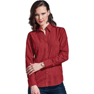 The Red Ladies Quest Long Sleeve Blouse Is A PolyCotton Dress Shirt With A Subtle White Stripe Design. Features Includes Double Button Cuffs, Bust Darts, Curved Hem, Constructed Button Stand And Short Sleeves With Turn Up Cuffs.