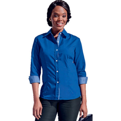 The Ladies Harper Blouse Is a Royal Blue Poly Cotton Dress Shirt With Contrasting Check Pattern On The Inner Collar And Sleeve Cuffs. Features A Shaped Hem, Constructed Button Stand, Front And Back Waist Darts, Bust Darts, Back Yoke, Inner Collar Stand And 3/4 Sleeves With Turn Up Cuffs.