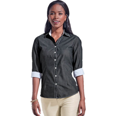 The Sky Onyx Blouse Is A Black Poly Cotton Mélange Weave Shirt with Contrasting Inner Collar, Cuffs And Top Stitching.. Features Include Constructed V-Shaped Slimline Button Stand, Front And Back Darts And 3/4 Sleeves With Turn Up Cuffs