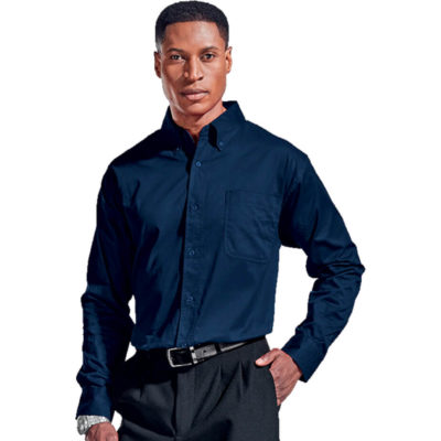The Mens Brushed Cotton Twill Lounge Long Sleeve Is A Navy 100% Yarn-Dyed Cotton With Soft Brushed Finish. Features Include Back Box Pleat, Front Chest Pocket, Double Button Cuffs And Button through Gauntlet, Top Stitching And Double Rolled Hem