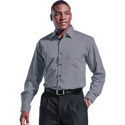The Grey Mens Saga Lounge Long Sleeve Is Made From 73/24/3 Cotton Polyester Lycra Stretch Poplin Fabric. Features Include A Raised Collar, One Patch Pocket On The Left Chest, Contrast Buttons And Contrasting Spotted Fabric On The Inner Collar Stand, Button Stand And Cuffs
