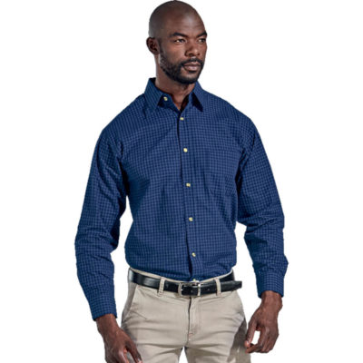 The Mens Pioneer Check Lounge Long Sleeve Is Royal Blue 100% Cotton Medium Weight Fabric. Features A Raised Collar, Constructed Button Stand, Button Through Gauntlet, Double Layer Drop-Shoulder Yoke And A Yarn Dyed Pattern