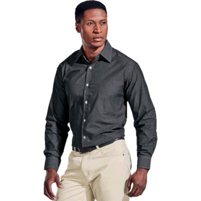 The Mens Onyx Lounge Long Sleeve Is A Black 65/35 Poly Cotton Mélange Weave Fabric With Contrasting White Inner Collar, Cuffs And Top Stitching Throughout. Features Contrast White Marble Buttons, A Raised Collar, Button Through Gauntlet, Double Button Cutaway And Cuffs, Curved Hemline, Double Back Yoke And A Left Chest Pocket.