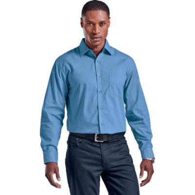 The Mens Madison Lounge Long Sleeve Is A Sky Blue 65/35 Poly Cotton Dress Shirt With Solid Contrasting Detailing On The Inner Cuffs, Button Stand And Collar Stand. Features Include Contrast Buttons, Chest Pocket, Single Needle Stitching Detail And Collar Bone Support