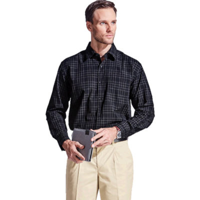 The Mens Hamilton Check Lounge Long Sleeve Is A Black 65/35 Poly Cotton Short Sleeve Dress Shirt Yarn Dye Check Pattern. Includes A Chest Pocket, Dropped Shoulder, Double Layer Back Yoke, Shaped Hem, Button Up Gauntlet On The Sleeve And Grown On Placket With Tonal Buttons