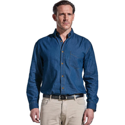 Mens Denver Denim Shirt Long Sleeve Is Made From 100% Cotton Dark Denim Fabric, 5 Oz. The Features Include High Quality.
