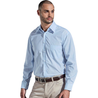 The Mens Century Blouse Long Sleeve Is Sky Blue Poly Cotton Blend Blouse With A Fine White Yarn-Dyed Stripe Design. Features Include Two Piece Collar, Front Back And Bust Darts, Twin Grouping Of Buttons And A Curved Hem.